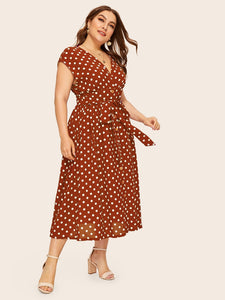 Plus Button Front Polka-dot Print Belted Dress