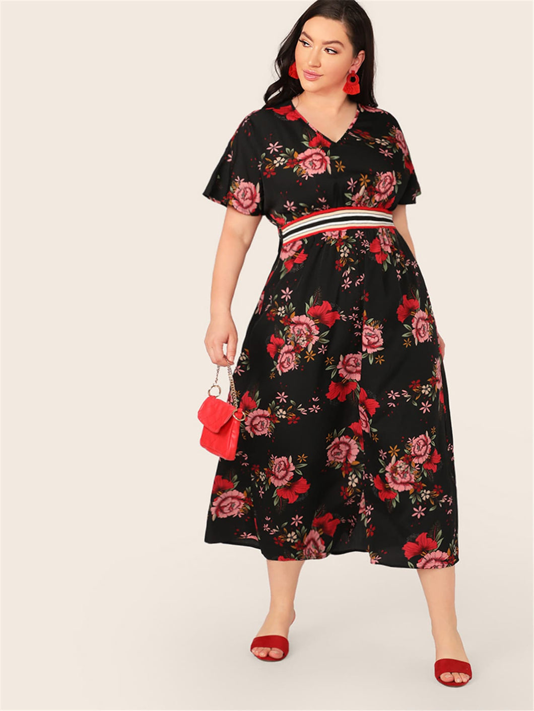 Plus Striped Tape High Waist Floral Print Dress