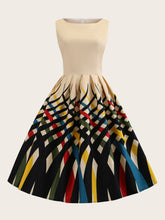 Plus Colourful Striped Print Fit And Flare Dress