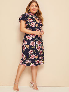 Plus Floral Print Butterfly Sleeve Peekaboo Dress