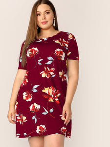 Plus Round Neck Floral Print Dress
