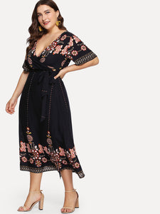 Plus Tribal Print Wrap Belted Dress