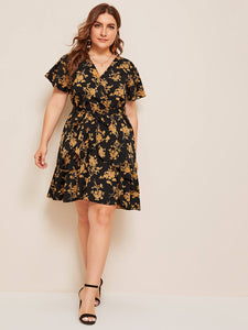 Plus Ditsy Floral Ruffle Hem Belted Dress