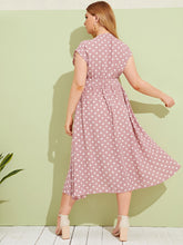 Plus Polka-dot Print Button Front Belted Tea Dress