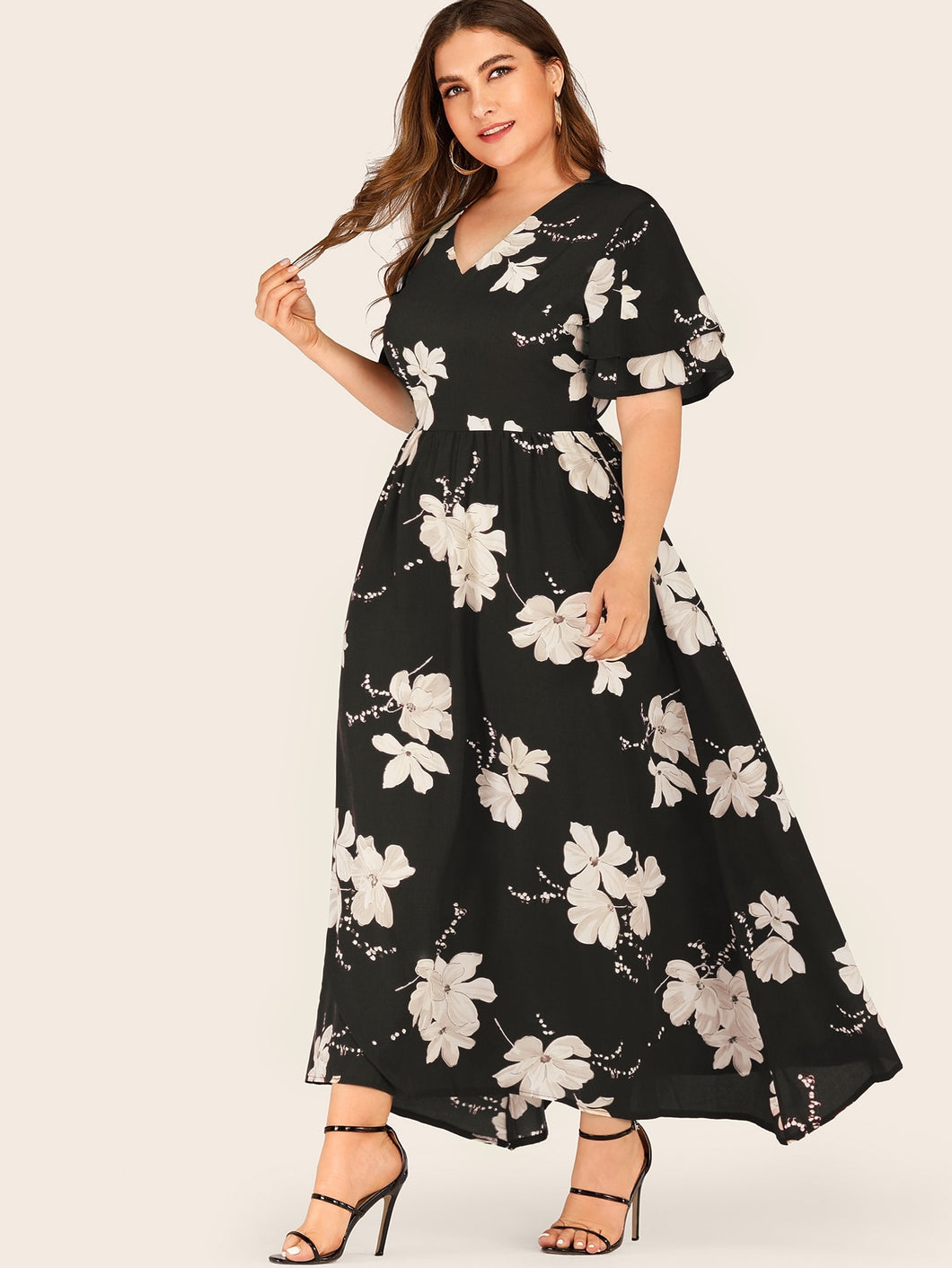 Plus Large Floral Print Layered Sleeve Dress