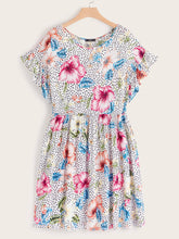 Plus Floral and Dot Print Ruffle Cuff Dress