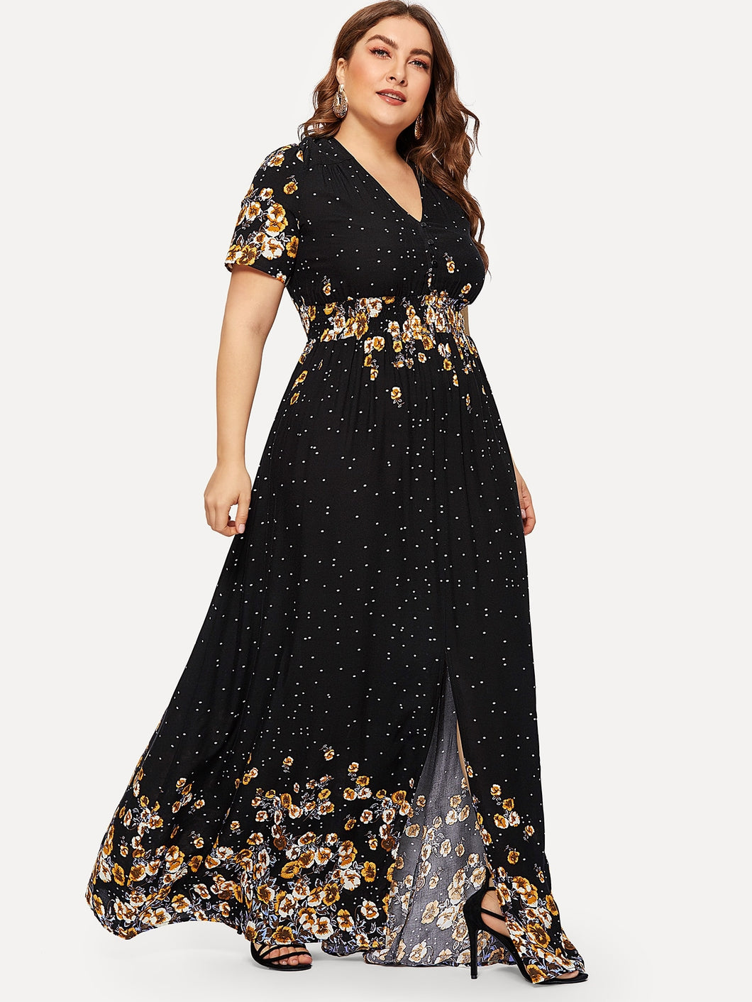 Plus Half Placket Shirred Waist Floral Dress