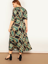 Plus Chain & Leaf Print Wrap Belted Dress