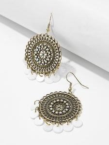 Disc Detail Hollow Round Drop Earrings 1pair