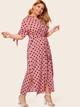 Plus Polka Dot Tie Cuff Dress