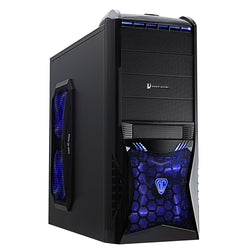 Vantage Blue Midi Mesh Gaming Case Black Interior 4 Fans (3 Blue LED) Card Reader No PSU
