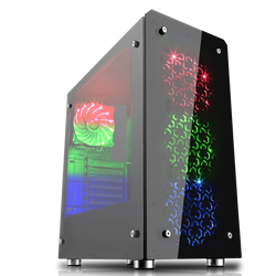 Sirius Black RGB 4 x 12cm RGB Fans Tempered Glass Side & Front Panels