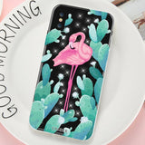 Flamingo Rhinestone Glitter Silicone Cover For iPhone 8