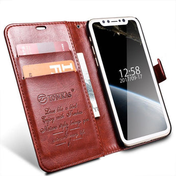 Genuine Leather Wallet Case with Kickstand For iPhone X