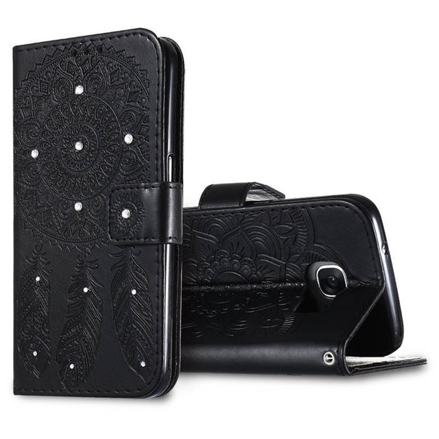 Bling Diamond Flip Leather Wallet Case For iPhone 8, iPhone 8 Plus and iPhone X