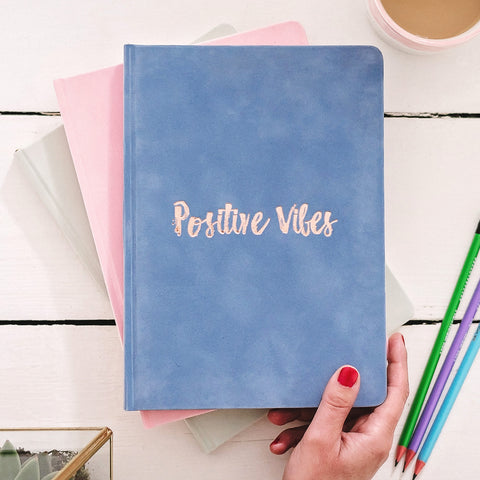 'Positive Vibes' Luxury Velvet Notebook