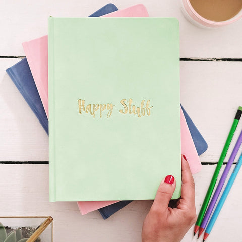 'Happy Stuff' Luxury Velvet Notebook