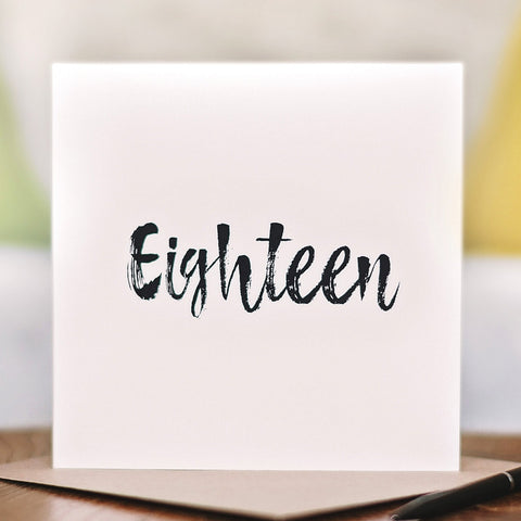'Eighteen' 18th Birthday Card