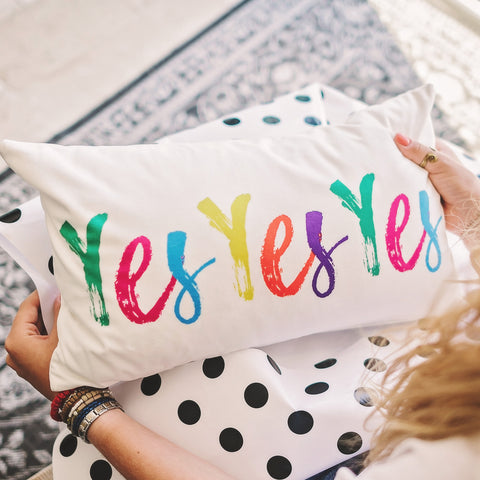 Yes Yes Yes Velvet Cushion - Rainbow Brights
