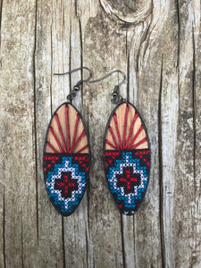 Thai Wooden Embroidered Fabric Earrings No. 5