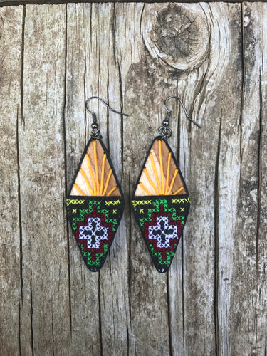 Thai Wooden Embroidered Fabric Earrings No. 6