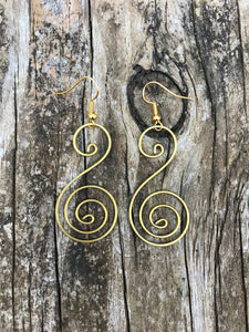Thai Handmade Brass Earrings No. 5