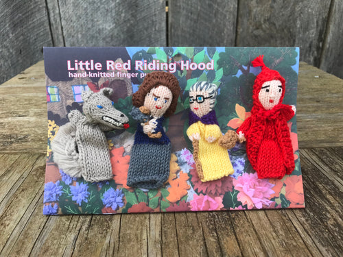 Hand-Knit Finger Puppets Little Red Riding Hood (4pc) - plush
