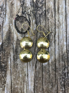 Guatemalan Jewelry - Handmade Brass Earrings - San Bartolome double coin