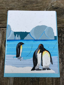 Single Greeting Card Penguin Natural White - Ellie Poo