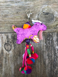 Thai Handmade Hill Tribe Colorful Animal Bag Charm or key chain - Goat - No. 8