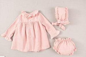 AW20 Jose Varon Pink Dress with Bonnet & Bloomers - 36006