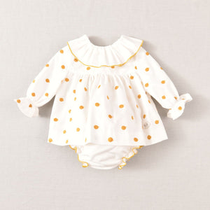 AW20 Jose Varon Mustard Polka Dot Dress & Bloomers