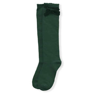 AW20 Miranda Velvet Bow Socks - Bottle Green