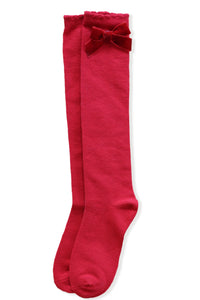 AW20 Miranda Velvet Bow Socks - Red
