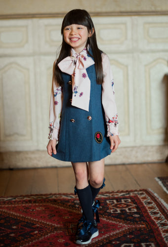 AW19 Piccola Speranza Air Force Blue Pinafore Dress & Blouse