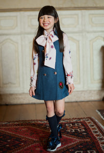 Piccola Speranza Air Force Blue Pinafore Dress & Blouse