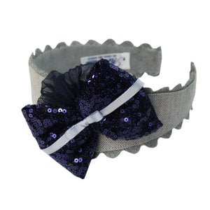 AW20 Miranda Grey & Navy Metallic Hairband - 346D