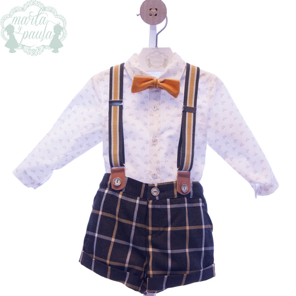 SALE Marta Y Paula Paloma Boys Short Set with Braces & Dickie Bow - 1863