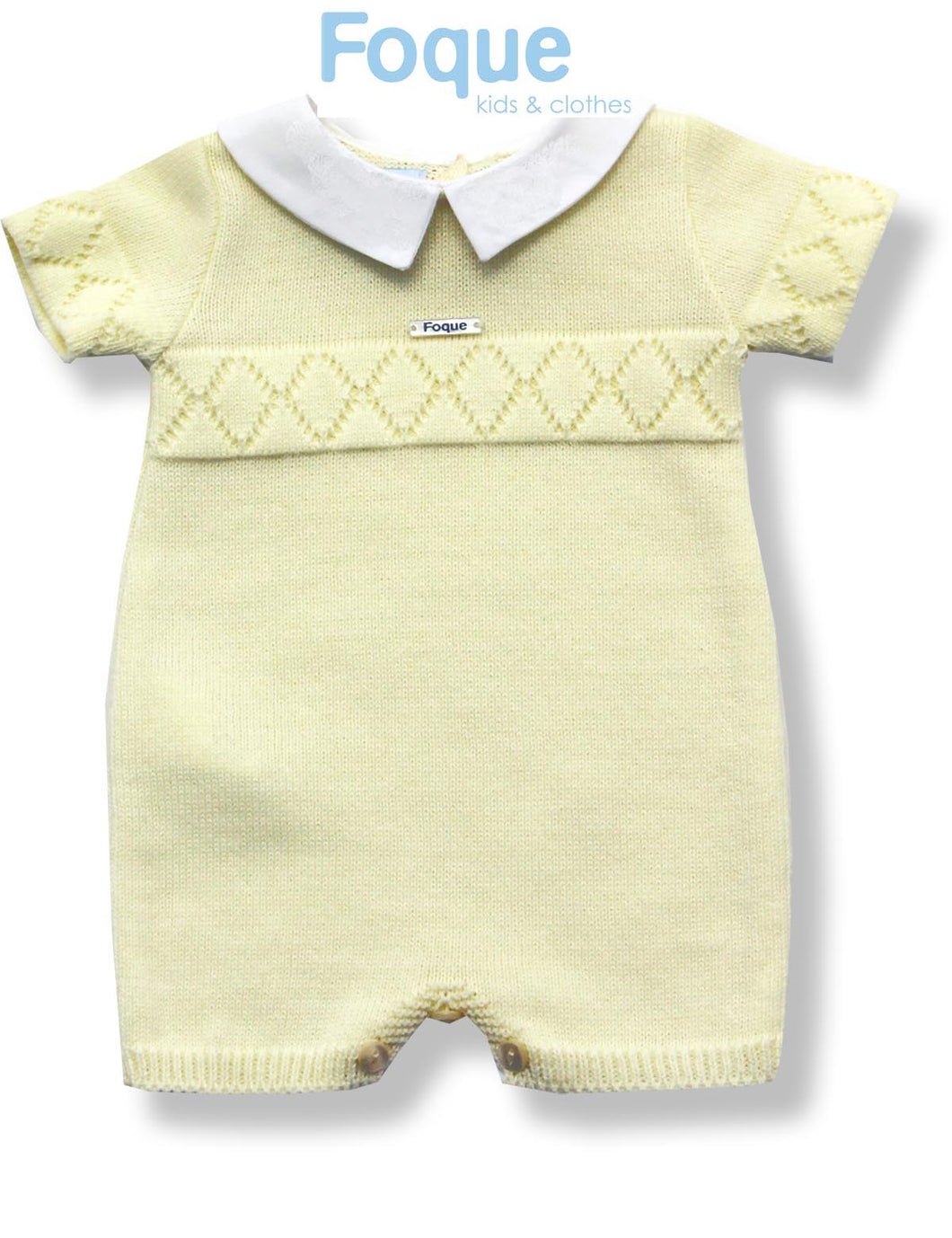 Foque Cream Baby Boys Knitted Romper with Peter Pan Collar