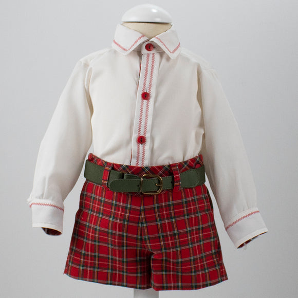 Loan Bor Tartan Baby Boys Short Set with Belt