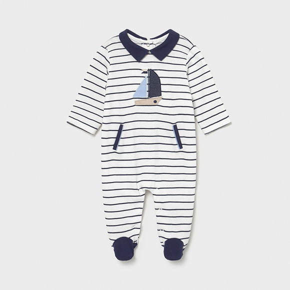 Mayoral Baby Boys Navy Stripe Sail Boat Babygrow - 1628