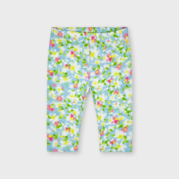 Mayoral Girls Yellow & Blue Floral Print Leggings