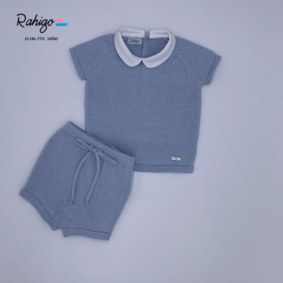 Rahigo Blue Boys Knitted Short Set