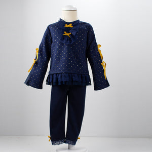 AW19 Loan Bor Navy & Gold Lounge Suit