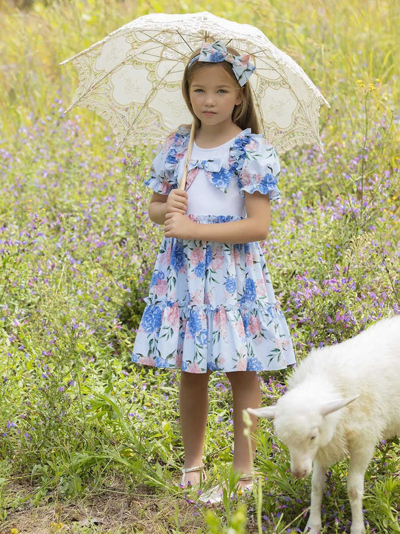 Patachou Girls Blue Flower Dress - 3233428