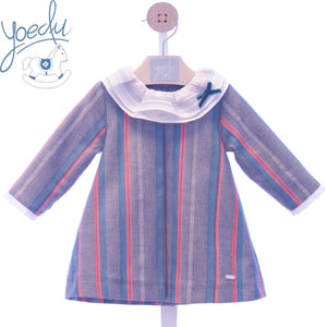 AW19 Yoedu Don Gato Baby Girls Coral Stripe Dress - 5113