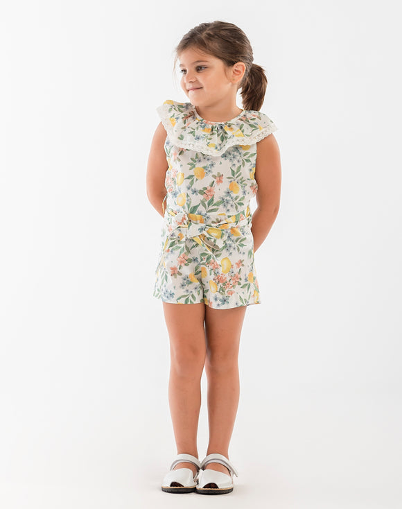 Naxos Lemon Floral Girls Playsuit