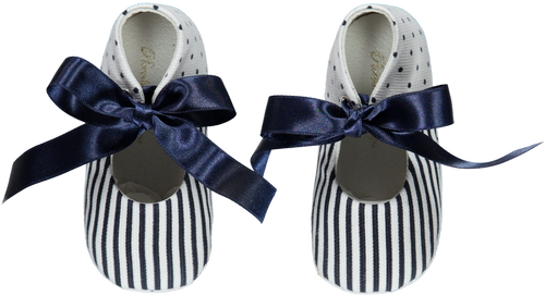 SS20 Piccola Speranza Navy & White Stripe Baby Shoes