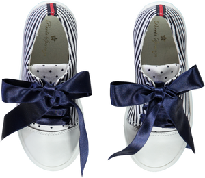 Piccola Speranza Navy & White Stripe Girls Sneakers