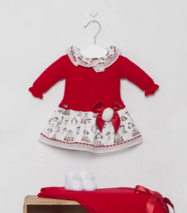 Juliana Red Puppy Print Knitted Dress